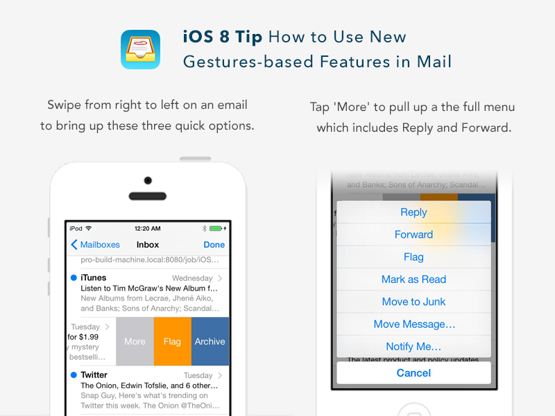How to Use New Gestures in iOS 8 Mail