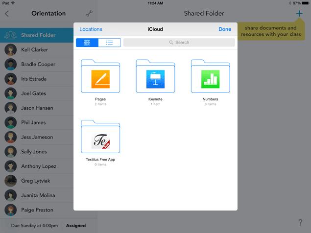 iCloud Document Picker in Showbie