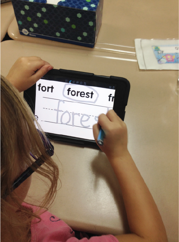 child-writing-forest