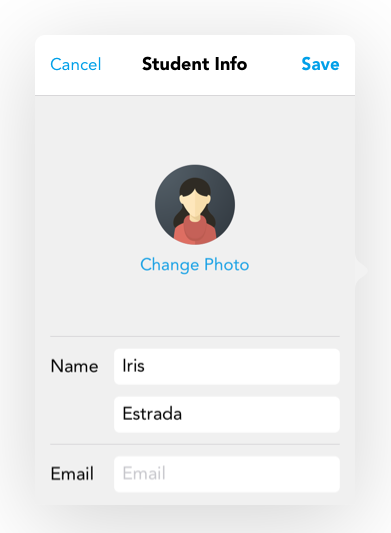 As a teacher, you'll be able to directly modify the name, profile pic, email, display name, and password of your students.